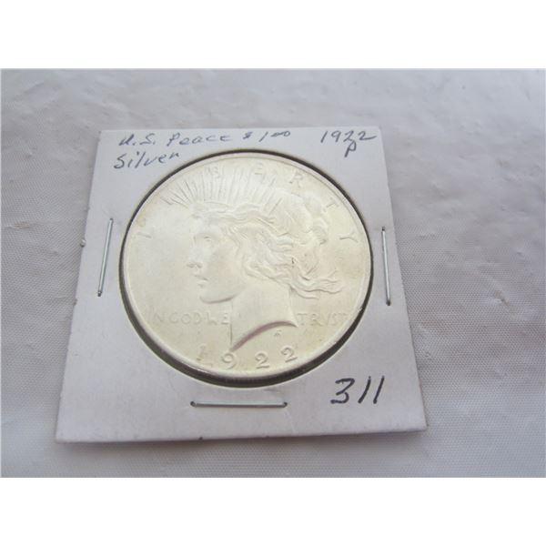 Peace Silver Dollar 1922 P