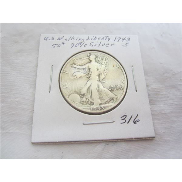 Silver Walking Liberty Fifty Cent Piece 1943 S