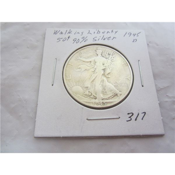 Silver Walking Liberty Fifty Cent Piece 1945 D