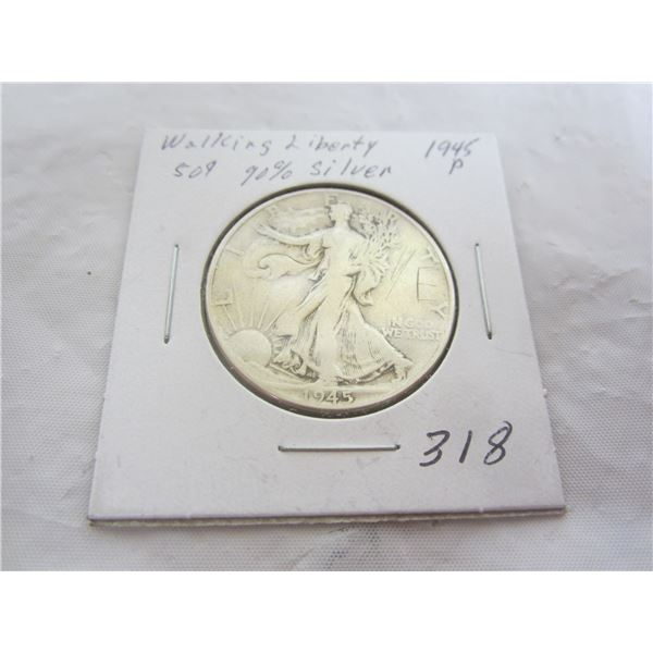 Silver Walking Liberty Fifty Cent Piece 1945 P