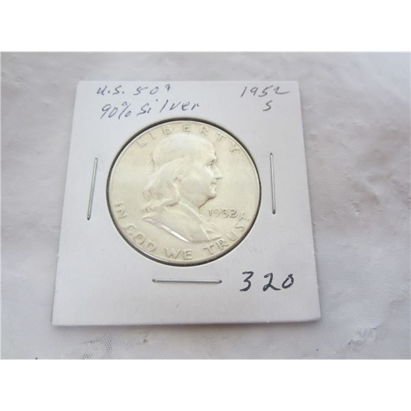 Silver Benjamin Fifty Cent Piece 1952 S