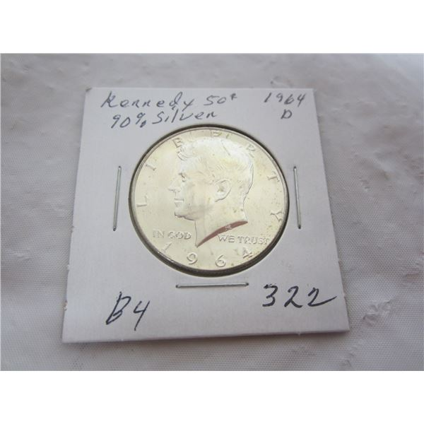 Silver 1964 D Kennedy Fifty Cent Piece