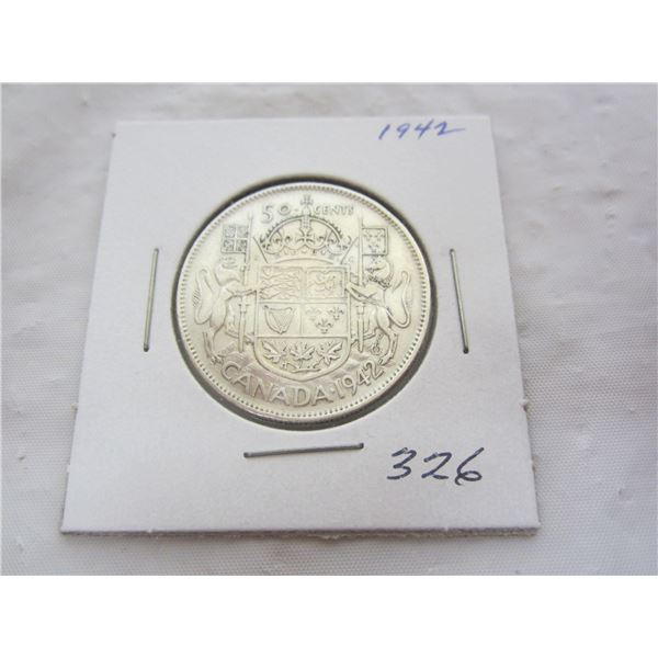 Canadian Silver 1942 Fifty Cent Piece