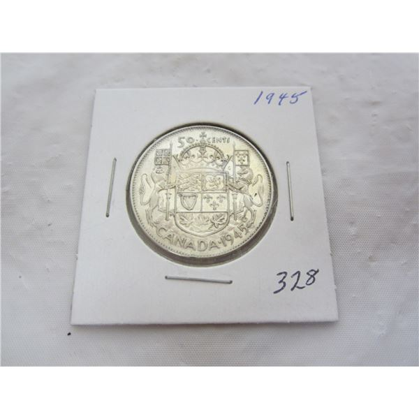 Canadian Silver 1945 Fifty Cent Piece