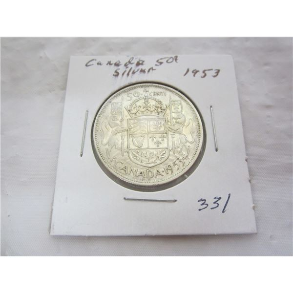 Canadian Silver 1953 Fifty Cent Piece