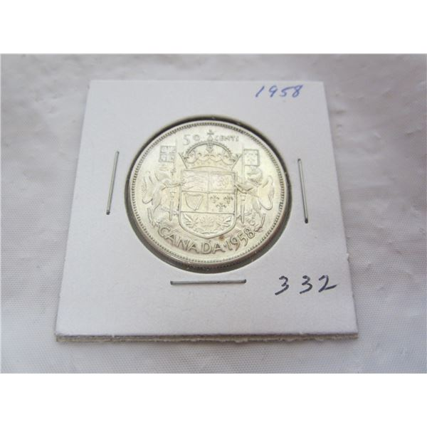 Canadian 1958 Fifty Cent Piece
