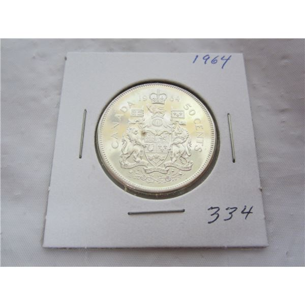 Canadian Silver 1964 Fifty Cent Piece