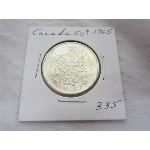 Canadian Silver 1965 Fifty Cent Piece