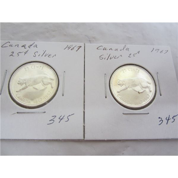 Lot of 2 Silver 1967 Lynx Quarters