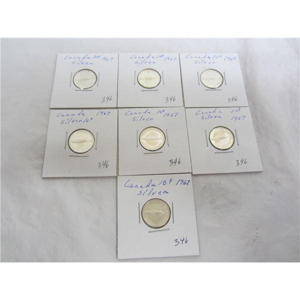 Lot of 7 Silver 1967 Mackerel Dimes