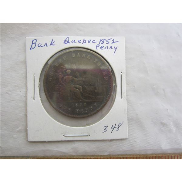 1852 Bank of Quebec Penny