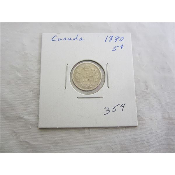 Silver Canadian 1880 Five Cent Piece