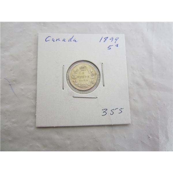 Canadian Silver 1899 Five Cent Piece