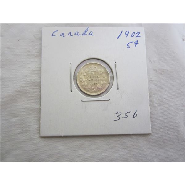 Canadian Silver 1902 Five Cent Piece