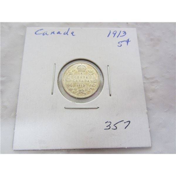 Canadian Silver 1913 Five Cent Piece