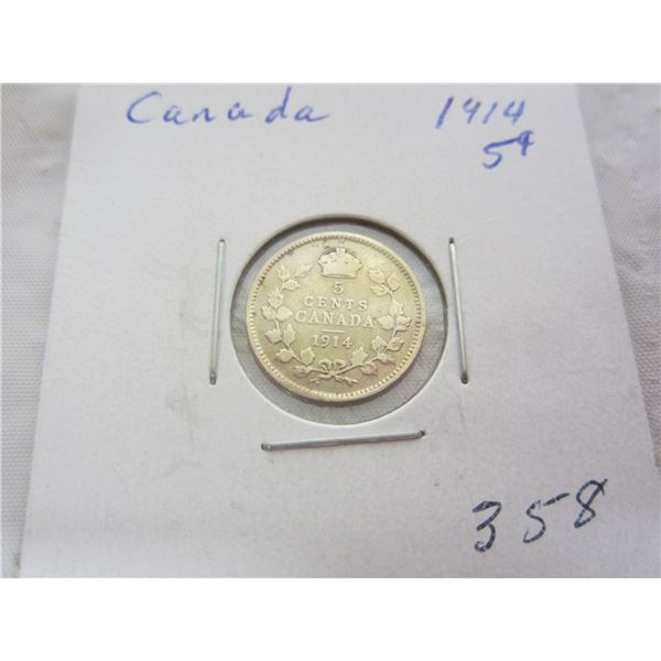 Canadian Silver 1914 Five Cent Piece