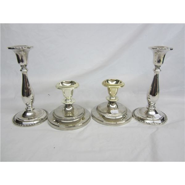 Two Pairs of Silver Plate Candlesticks 7 and 4 inches High
