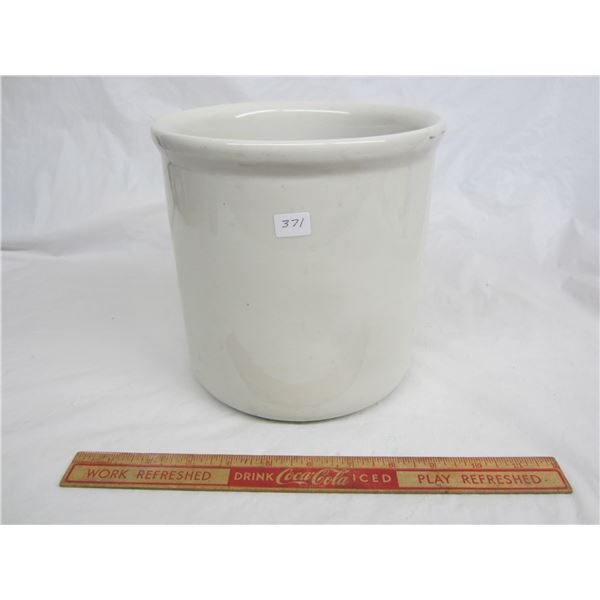 White One Gallon Crock marked Hall no damage