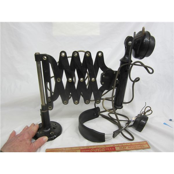 Western Electric Railroad Dispatchers Phone with Scissor Jack and Stand