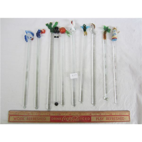 Ten Glass Swizzel Sticks with different Animals ,Flowers ect