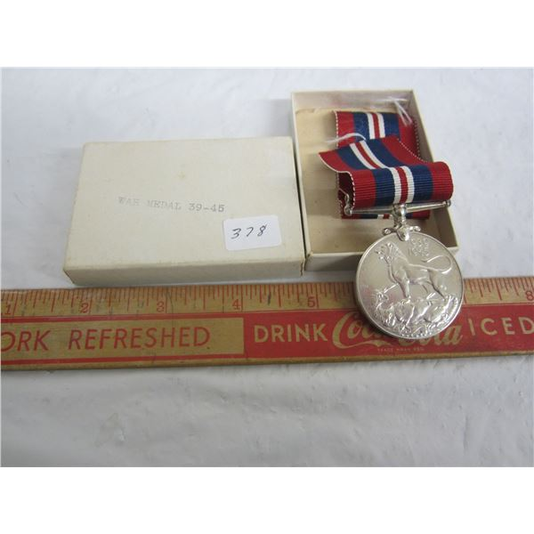 Canadian WW2 War Medal .800 Silver with Box