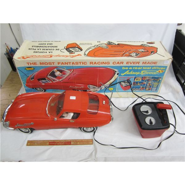 Rare Johnny Speed Jaguar remote controlled car by Topper Toys circa 1968 with box 1 owner