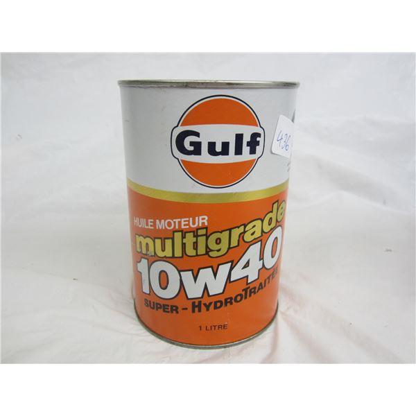 Vintage Cardboard Gulf Quart oil can full