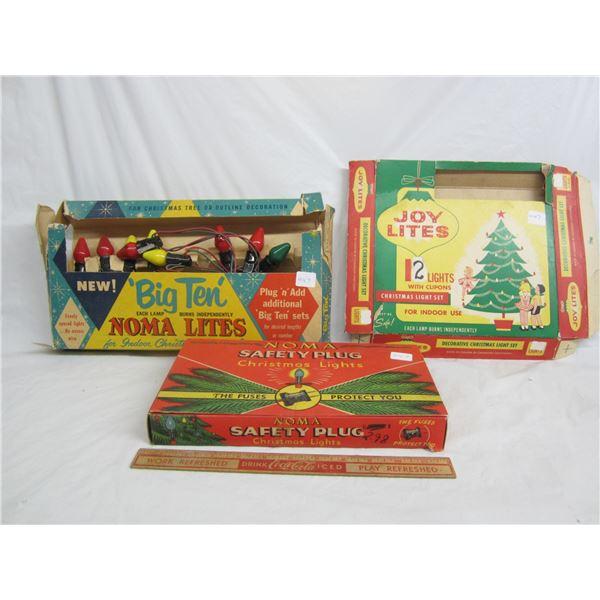 Lot of 3 Vintage Christmas Lights Display Boxes 1 has lights