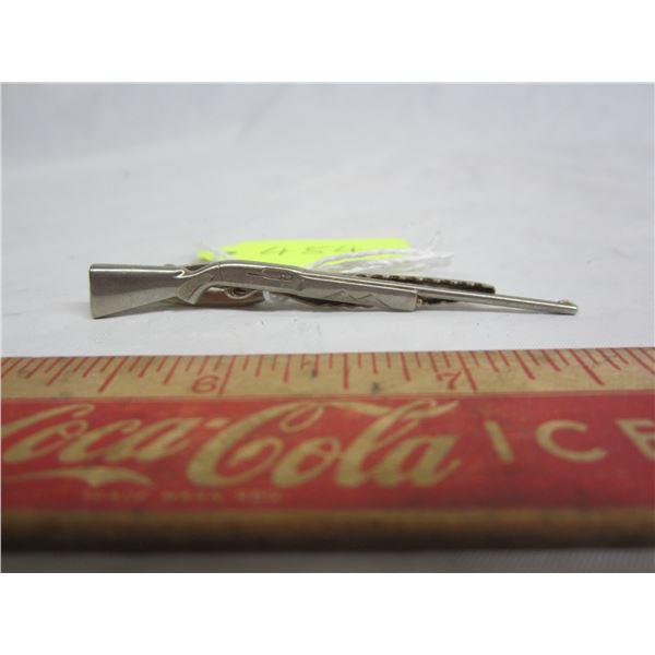 Vintage Hickok USA silver plate d tie clip shaped like shotgun