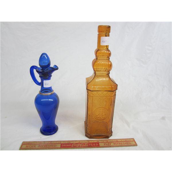 Vintage Blue Vinegar Cruet and Orange colored bottle