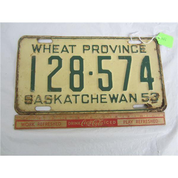 1953 Saskatchewan License Plate