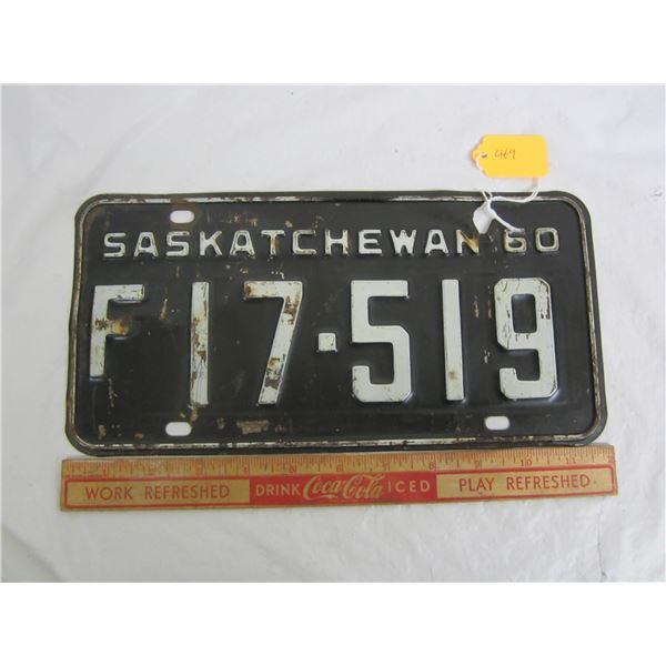 1960 Saskatchewan License Plate