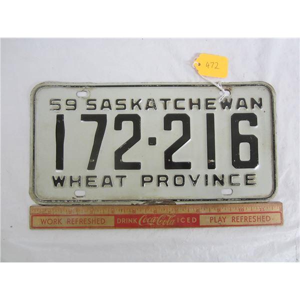 1959 Saskatchewan License Plate