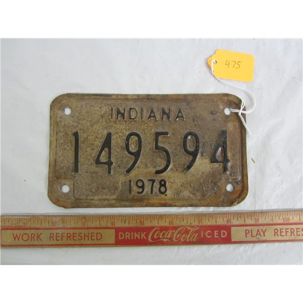 1978 Motorcycle Plate