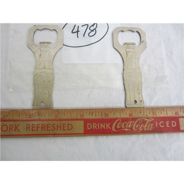 Lot of 2 Vintage Coca Cola Bottle Openers