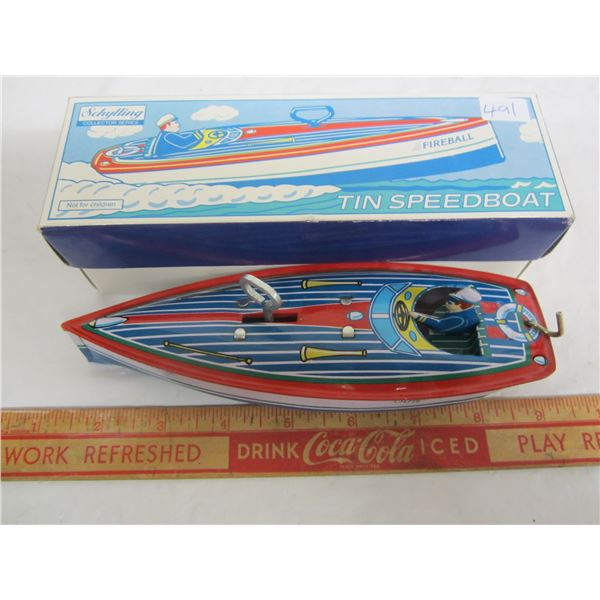 Schilling tin key wind Speed Boat with box working
