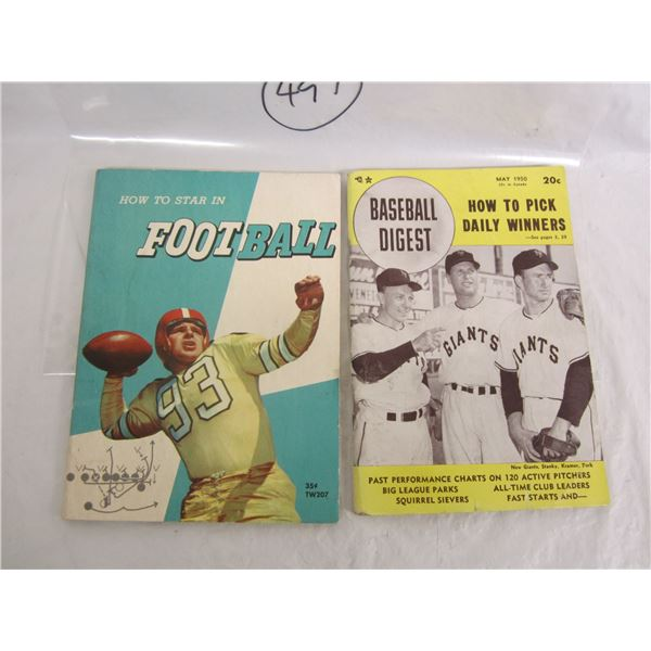 Lot of 2 Books 1950 Baseball Digest and Star in Football