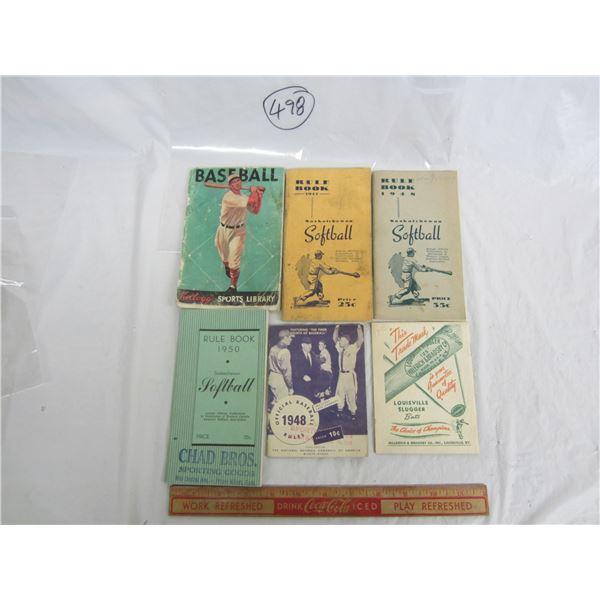 Lot of 6 Baseball Rule books 1940-1950