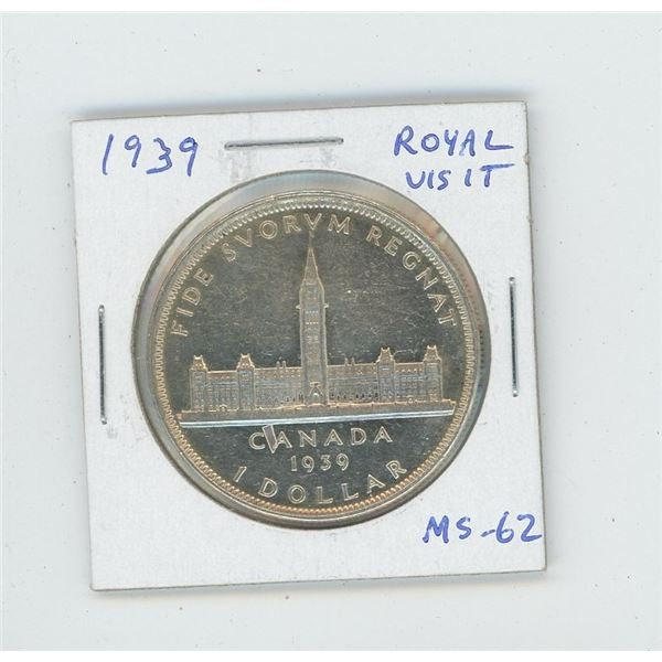 1939 Silver Dollar. Canada's second commemorative coin celebrates the Royal Visit to Canada just pri