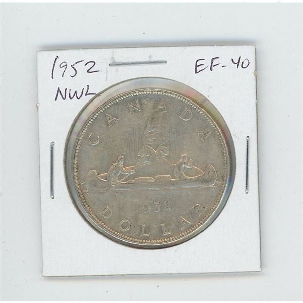 1952 No Water Lines Silver Dollar. The last issue of George VI. EF-40. Nice.