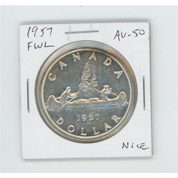 1957 Full Water Lines Silver Dollar. AU-50. Nice.