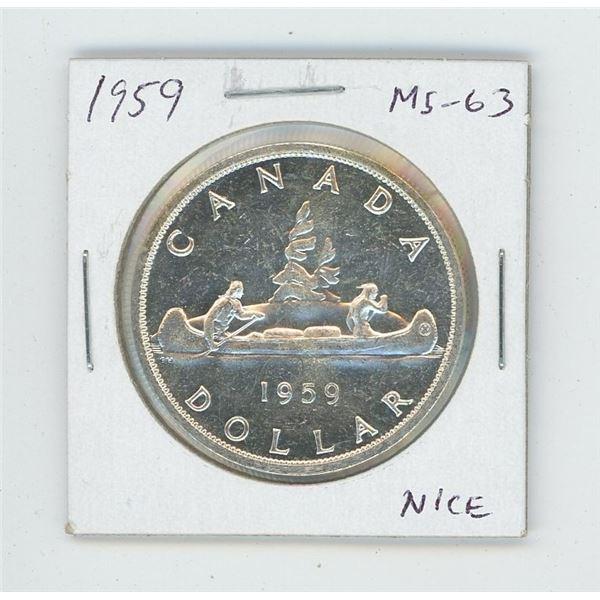 1959 Silver Dollar. MS-63. Nice.