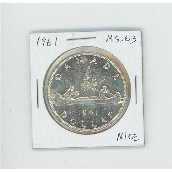 1961 Silver Dollar. MS-63. Nice.