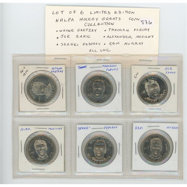 Lot of 6 Limited Edition NHLPA Hockey Greats Coin Collection. Includes Wayne Gretzky, Theoren Fleury