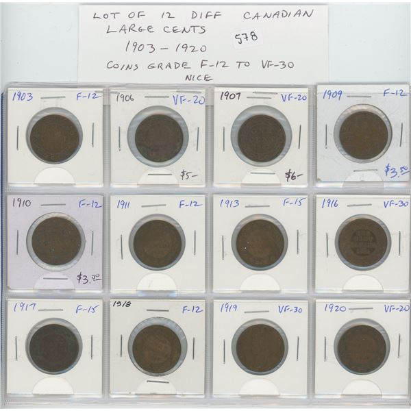 Lot of 12 different Canadian Large Cents 1903 – 1920. Includes 1903, 1906, 1907, 1909, 1910, 1911, 1