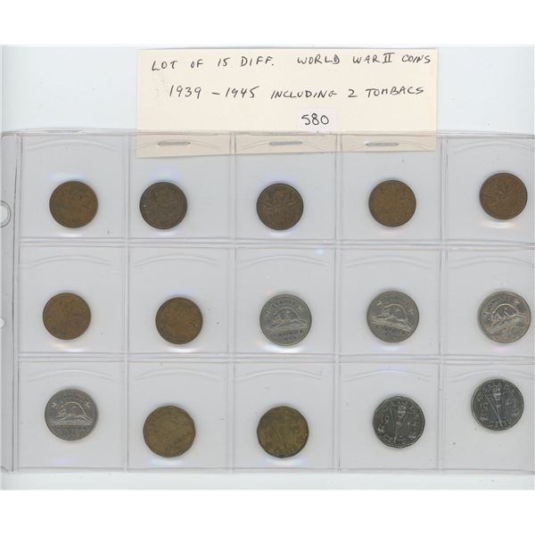 Lot of 15 different Canadian World War II coins 1939 – 1945. Includes all cents and nickels includin