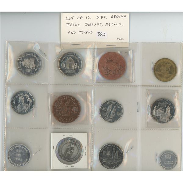 Lot of 12 different Regina Trade Dollars, Medals & Tokens. Includes RCMP, Curling, 1967 Centennial,