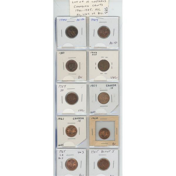 Lot of 10 different Lustrous Canadian Small Cents. Includes 1940, 1947, 1951, 1953 NSF, 1954 SF, 195