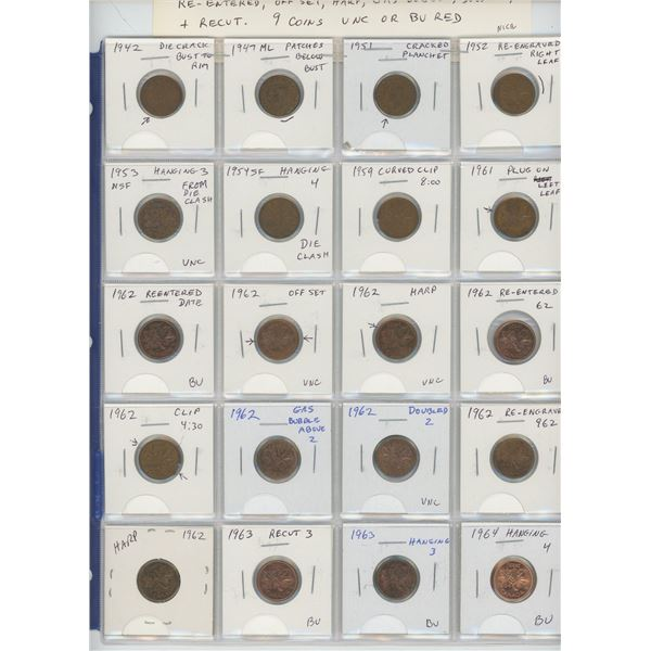 Lot of 20 Canadian Small Cent Errors & Varieties. Includes Die Crack, Patches, Curved Clips, Cracked