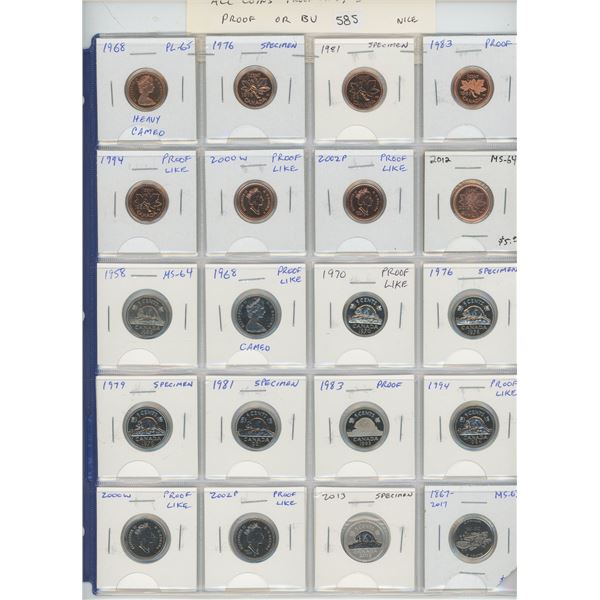 Lot of 20 different Canadian Collector Small Cents & Nickel 5 Cents. Cents include 1968 Heavy Cameo,